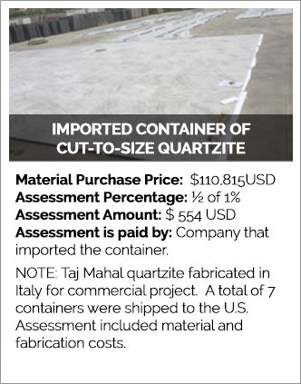 Imported Containers of Cut-to-Size Quartzite