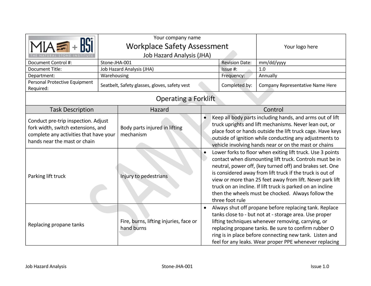 Sample JHA.  Job Safety Analysis Template Free